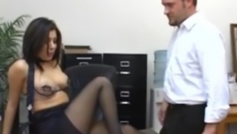 Desk Sativa Rebeled in pantyhose fucking on top of her managers desk staff