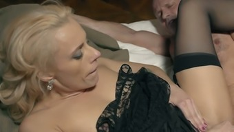 Beautiful looking cougar in dark colored things Brittany Bardot continues to riding intense dick
