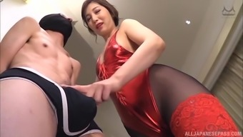 Lovely girl Sasaki Aki knows how to satisfy a hairy pecker