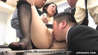 Gorgeous from asia milf ai mizushima is handled to bukkake by coworkers