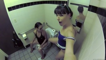 Lesbian women sneak directly into bathroom for any one other out