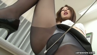 Welcoming Japanese people pussy of Riko Miyase is drilled among the traditional college