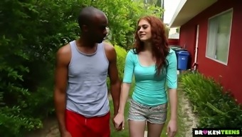 Pale shiny redheaded Alice Green goes interracial right outdoors to be fucked well