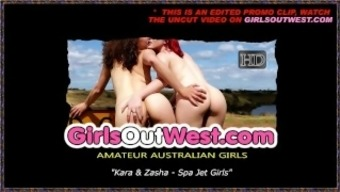 Girls Out West - Cute lesbians in a whirlpool tub